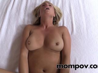 Sexy blonde milf gets a cream pie
