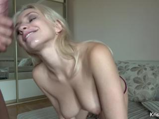 Handjob Blonde and Facial Cumshot - Kriss Kiss