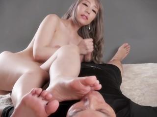 Asian foot worship with handjob