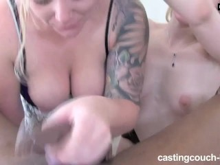 Two Blondes At Rap Video Casting Deepthroating And Titty Fucking Huge Cock