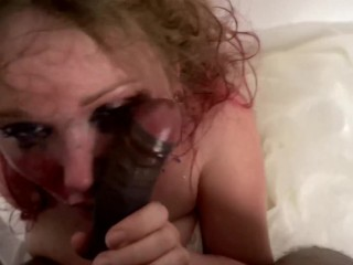 Busty White Bride gets brutally slapped around and Face Fucked by BBC