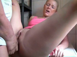 German Amateur Fast Anal with Blonde