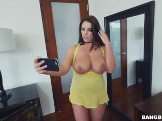 angela blank dense boobies selfie