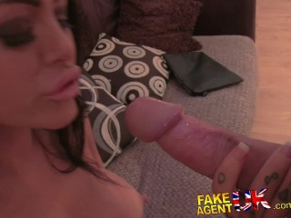fakeagentuk slim tattood london girl has perfect blow job lips