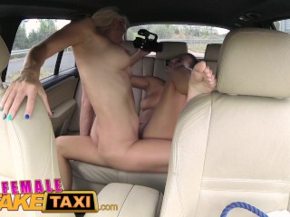 feamle fake taxi two muggy women have backseat fun