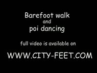 barefoot walk and poi dancing