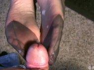 jizz on my silky stocking soles