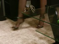 blond haired stocking footjob