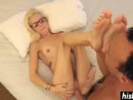 light-haired nerdy halle von drilled a chap