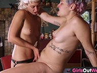 raunchy bush lesbians use a strap on fake dick
